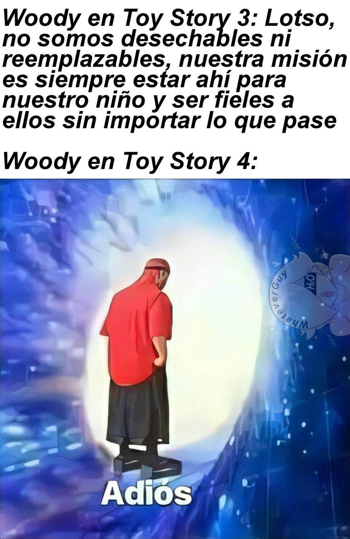 Toy Story 4 no es mala, pero literal Woody traiciona toda su ideología de la 3 y le da la razón a Lotso - meme