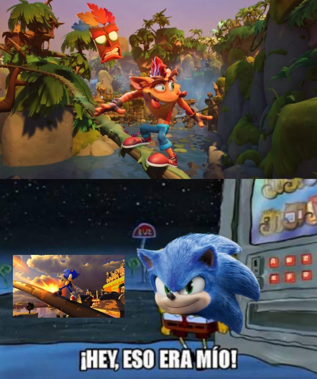 Primero Mario se roba lo de rodar y ahora Crash lo de andar por rieles x'''d - meme