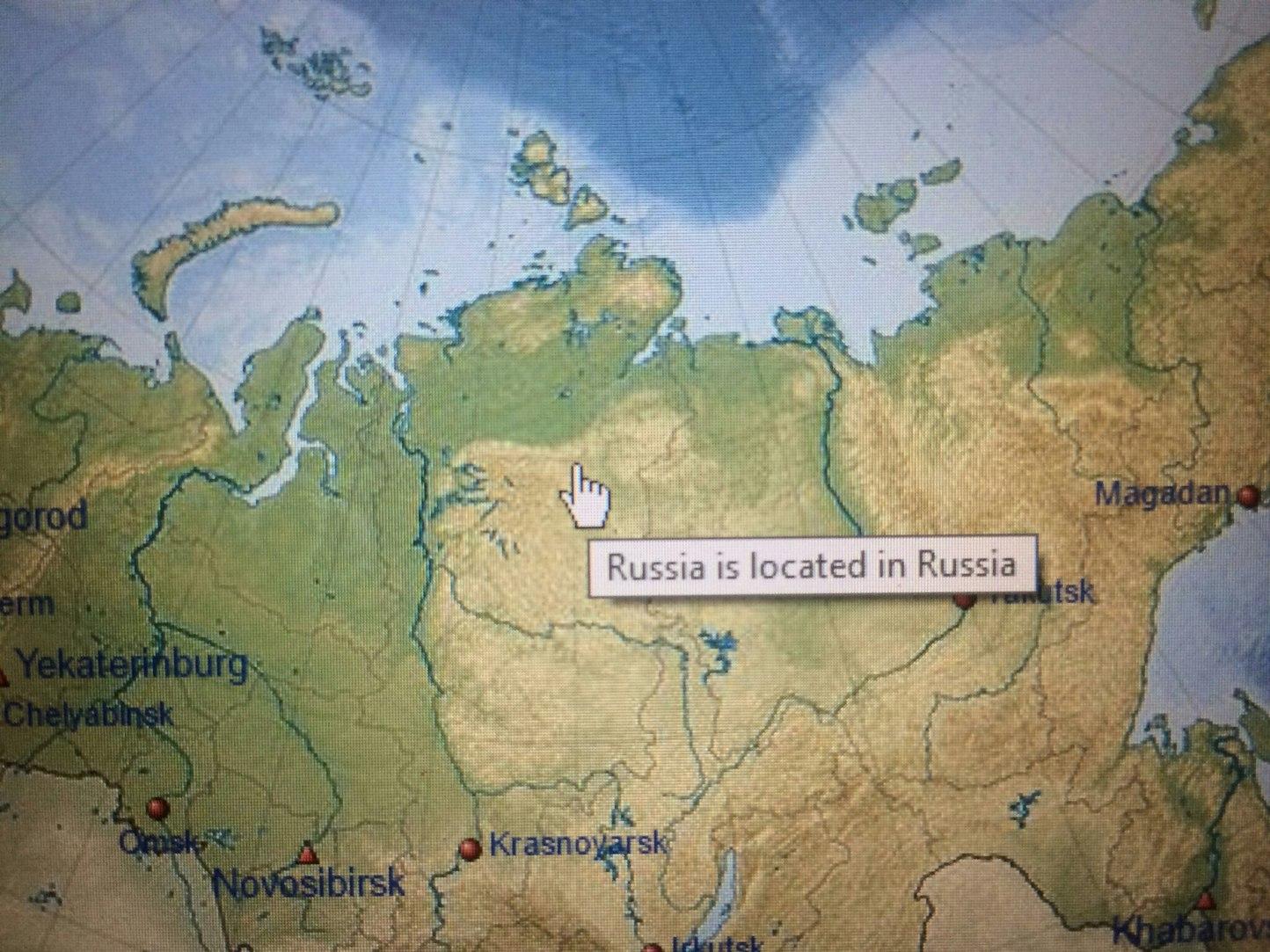 Rússia fica na Russia. Entao onde a Russia fica? - meme