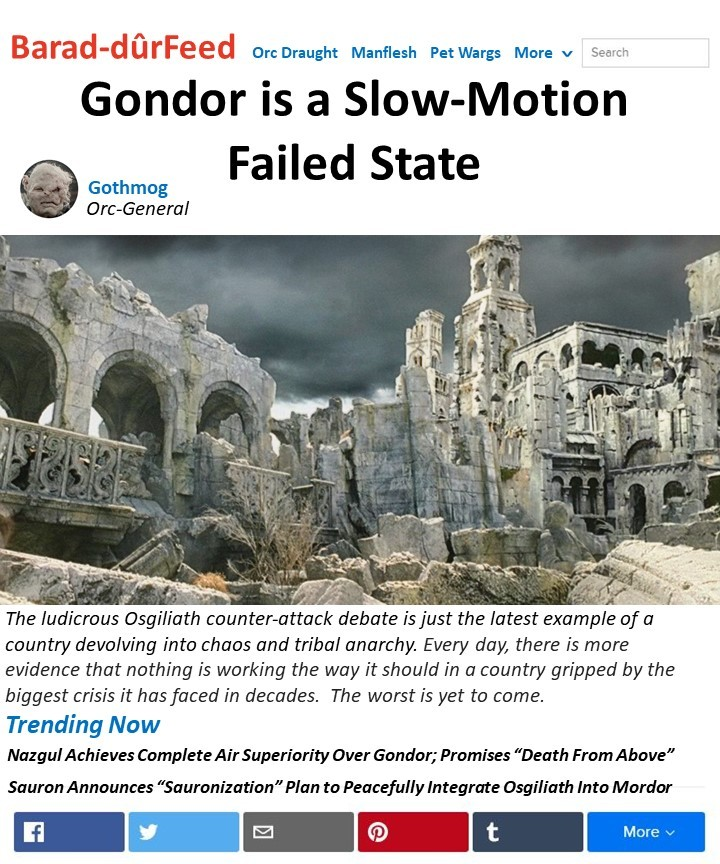 Gondor is a Failed State - meme