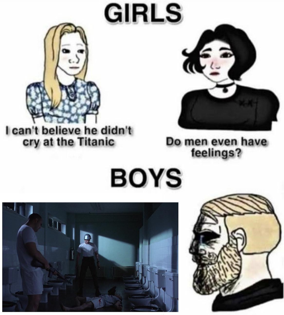 Cena do banheiro - Filme: Nascido para matar - meme