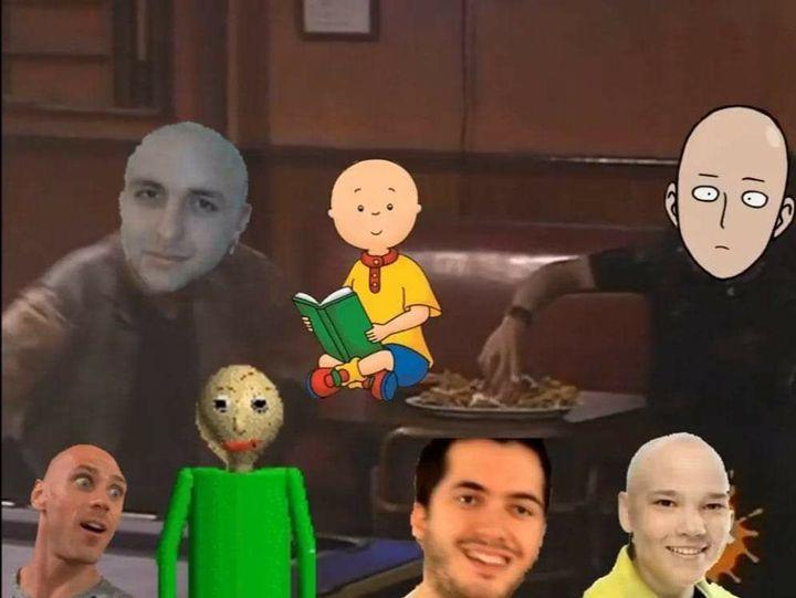 Reunión de calvos - meme