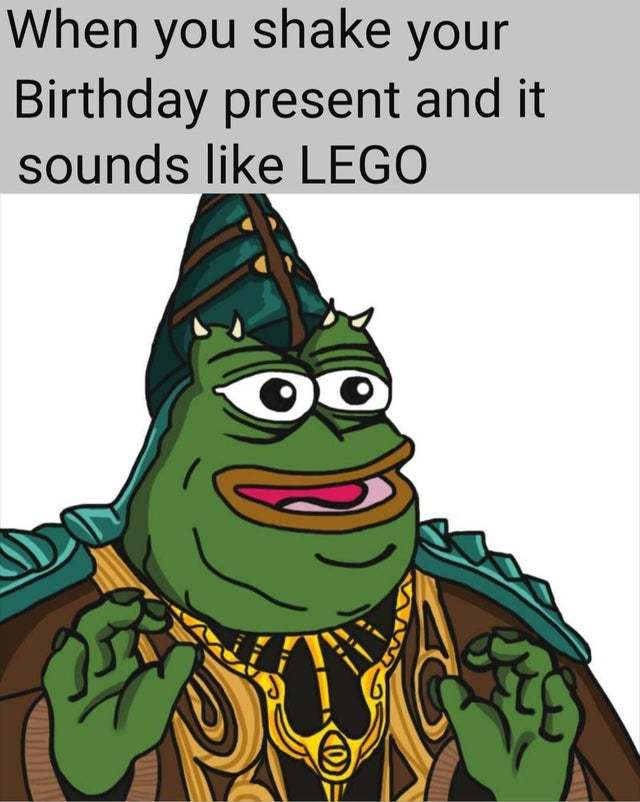 When you shake your birthday present and it sounds like LEGO - meme