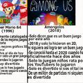 Olvidé mencionar que Super Mario 64 tenía personajes tan bien diseñados como las computadoras de ese entonces lo permitían y Amongolos solo tiene personajes sin brazos hechos en 2018 :facepalm: