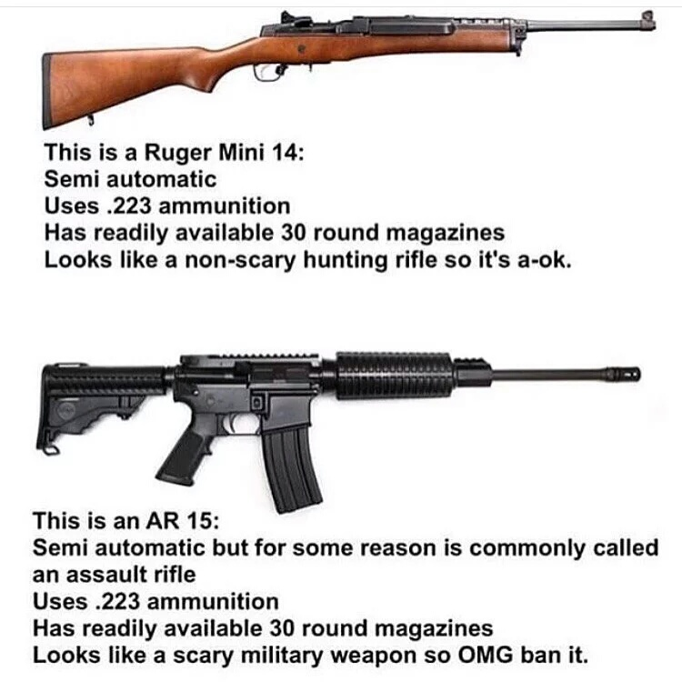 The problem is the people, not the guns - meme