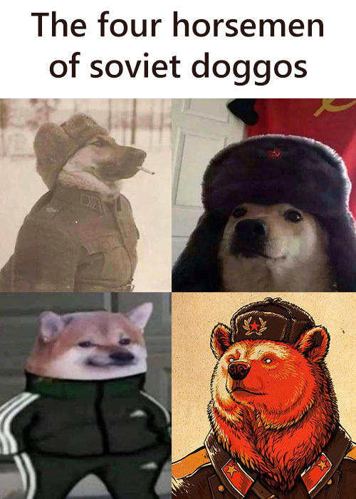 The four horsemen of soviet doggos - meme