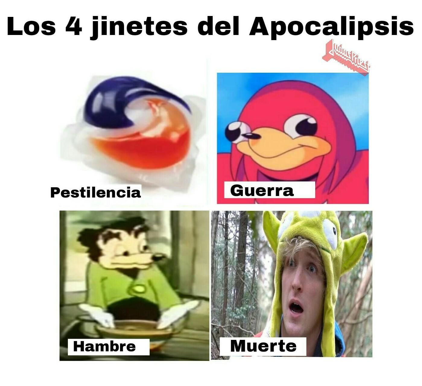 Pestilencia, hambruna, guerra, muerte - meme