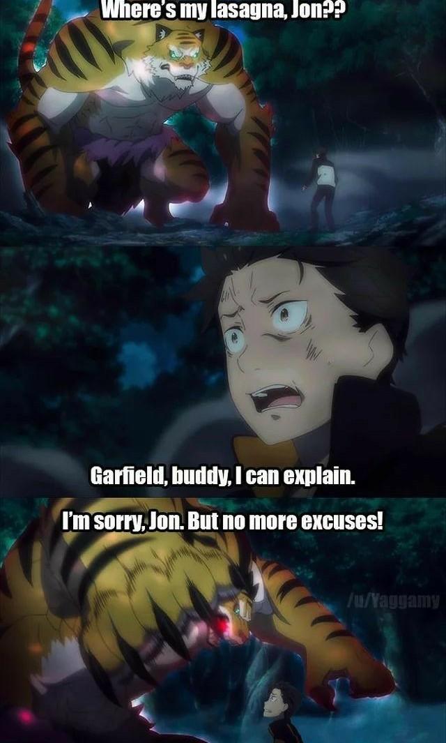 """""""où sont mes lasagnes jon ??"""" """"Je peux tout t'expliquer Garfield"""" """"pas plus d'excuses Jon"""" - meme"""