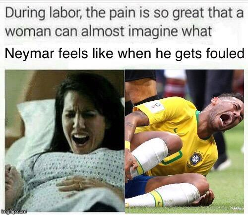 Neymar pretending to be hurt, again. - meme