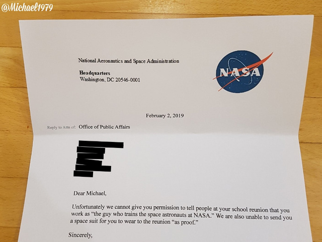 Declined by NASA - meme