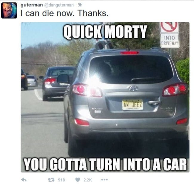 turn into da car morty - meme