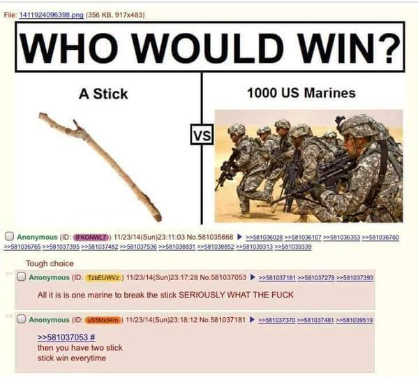 Stick wins every time - meme