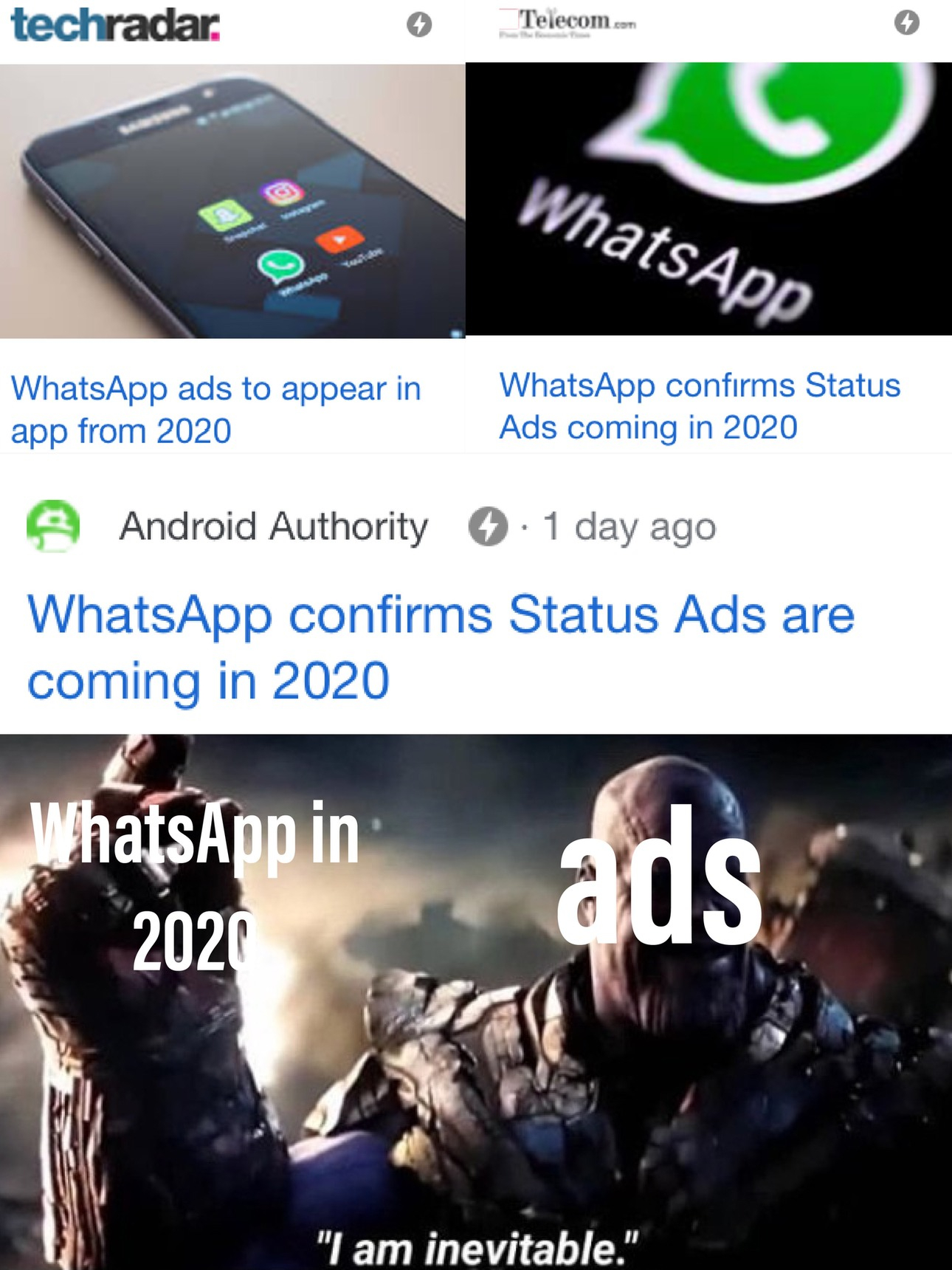 WhatsApp ads - meme
