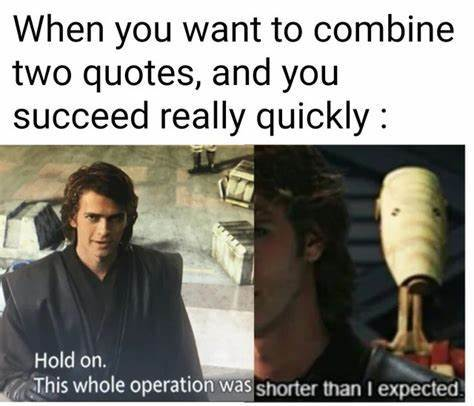 Hold on. This whole operation was shorter than I expected. - meme