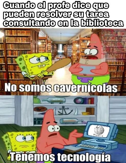 Biblioteca vs Wikipedia - meme