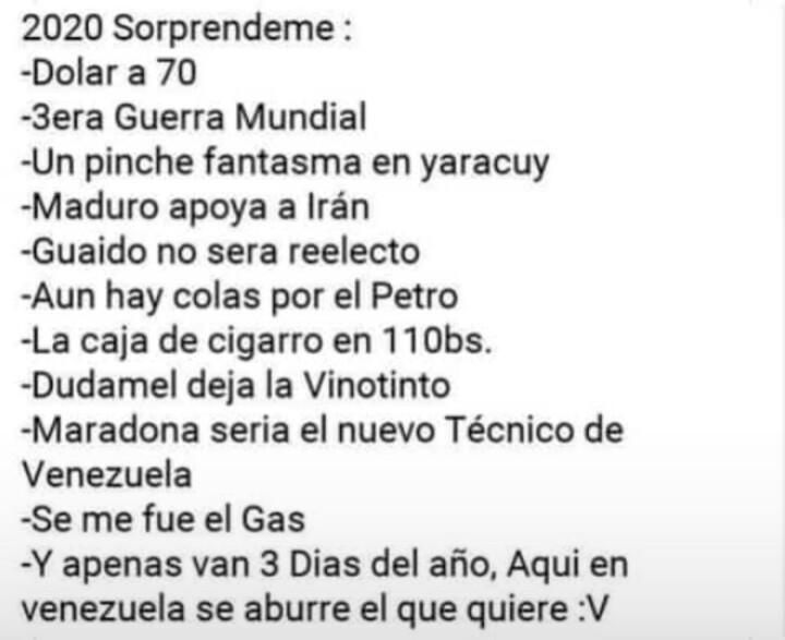 Venezuela del 2020 - meme