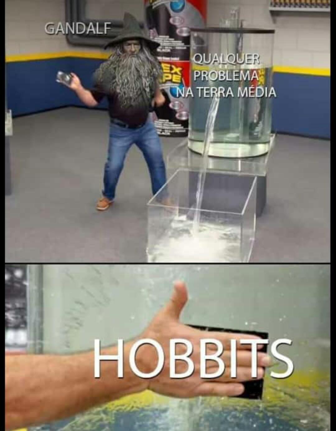 Vontade de fazer uma jornada igual a de Bilbo - meme