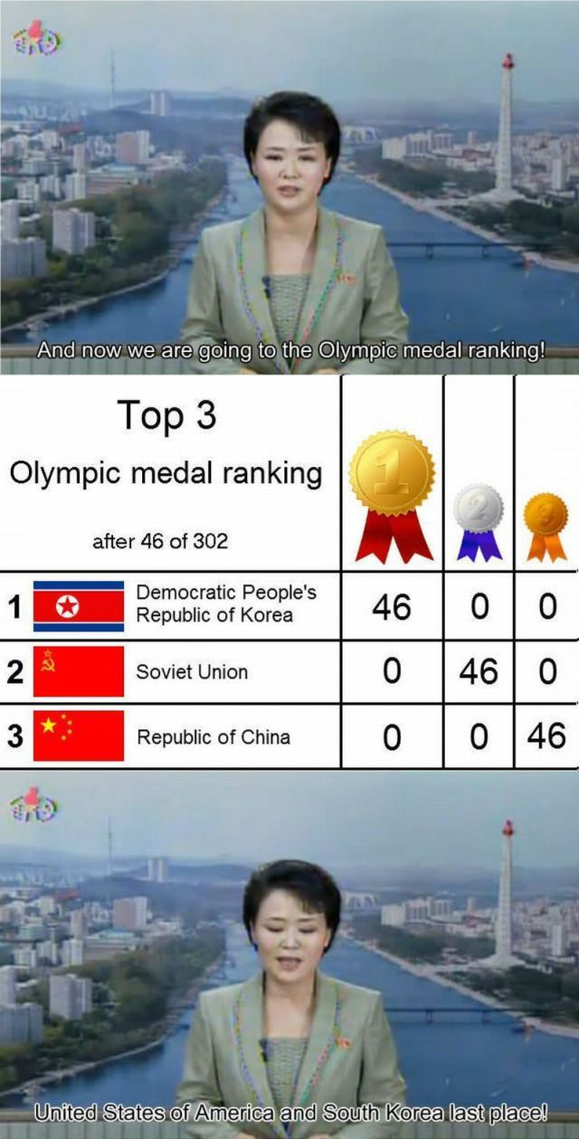 Medal Count according to North Korea... - meme