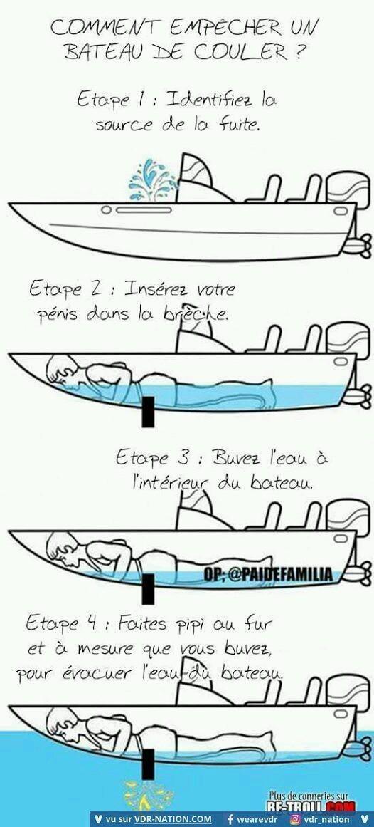 Et grace a cette astuce il n'y a plus de breche dans mon bateau. - meme