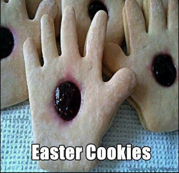 His Holey Hands Easter cookies - meme