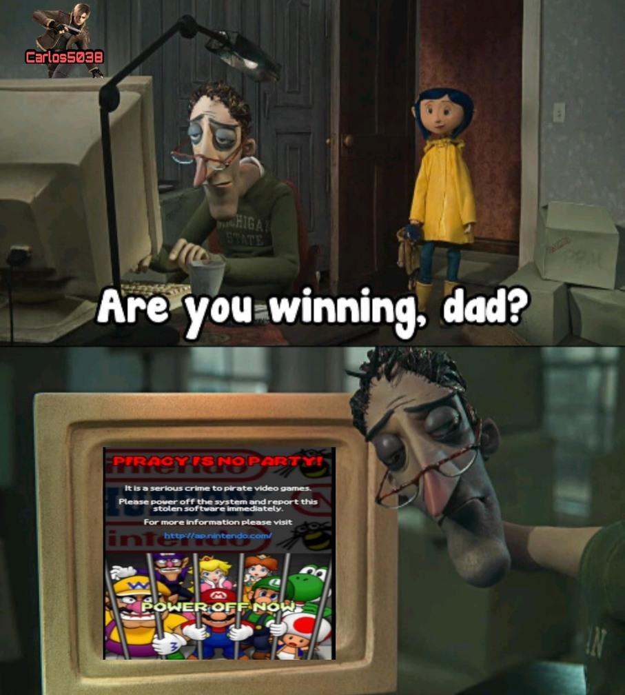 Contexto: Es una pantalla anti-pirateria de Mario - meme