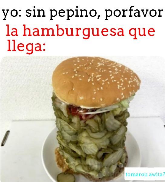 hamburguesa con MUCHO pepino - meme