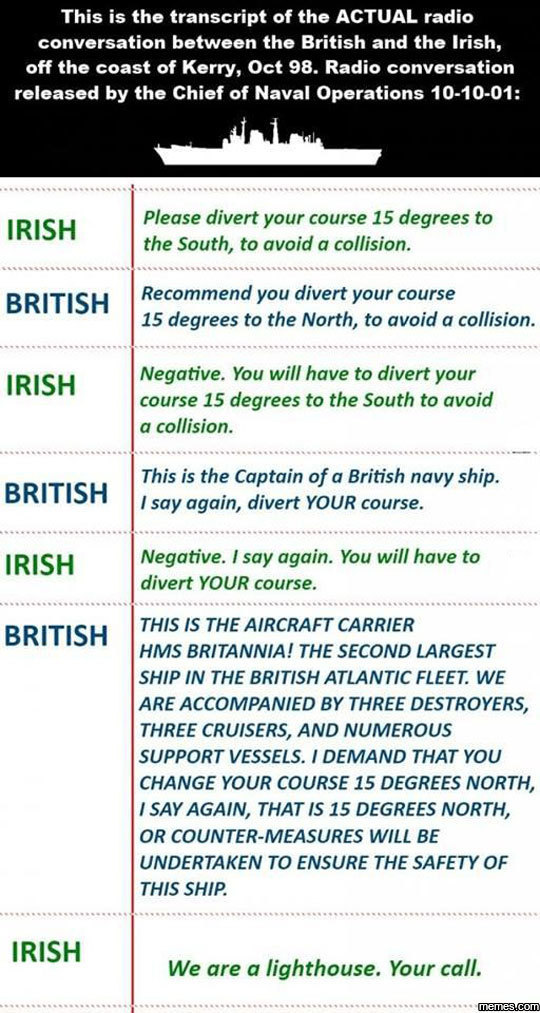 British and Irish navy. - meme