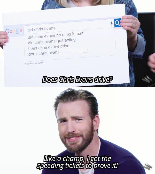 Does Chris Evans drive? - meme