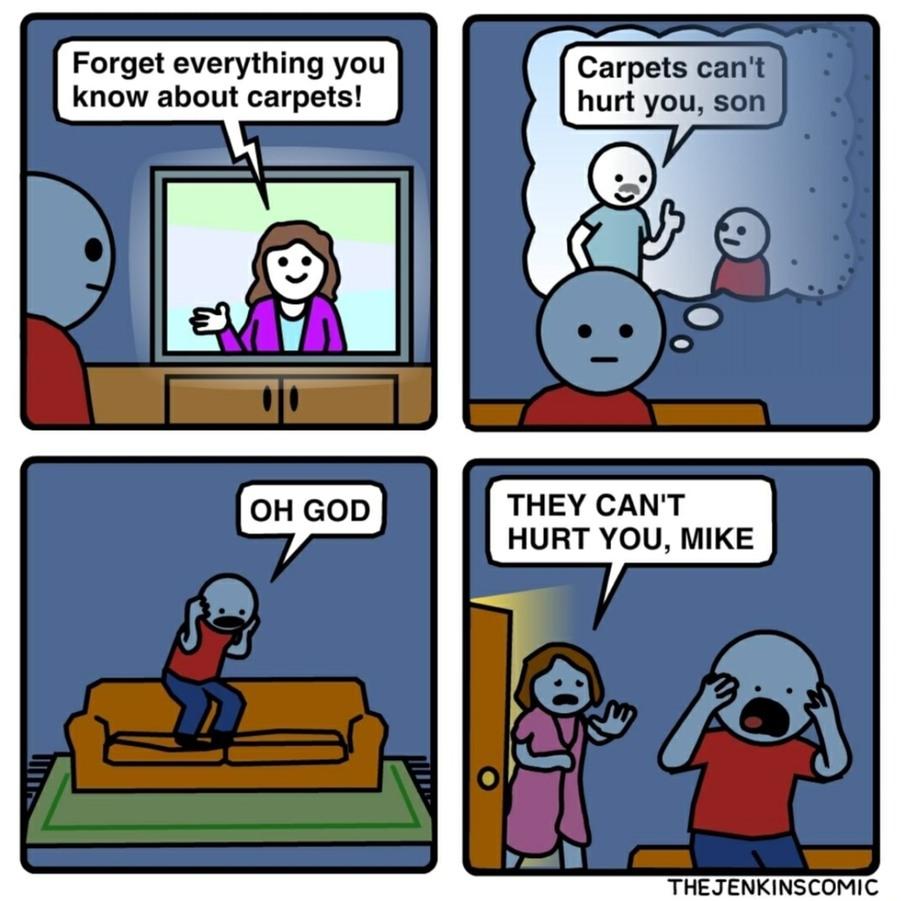 The carpet is lava - meme