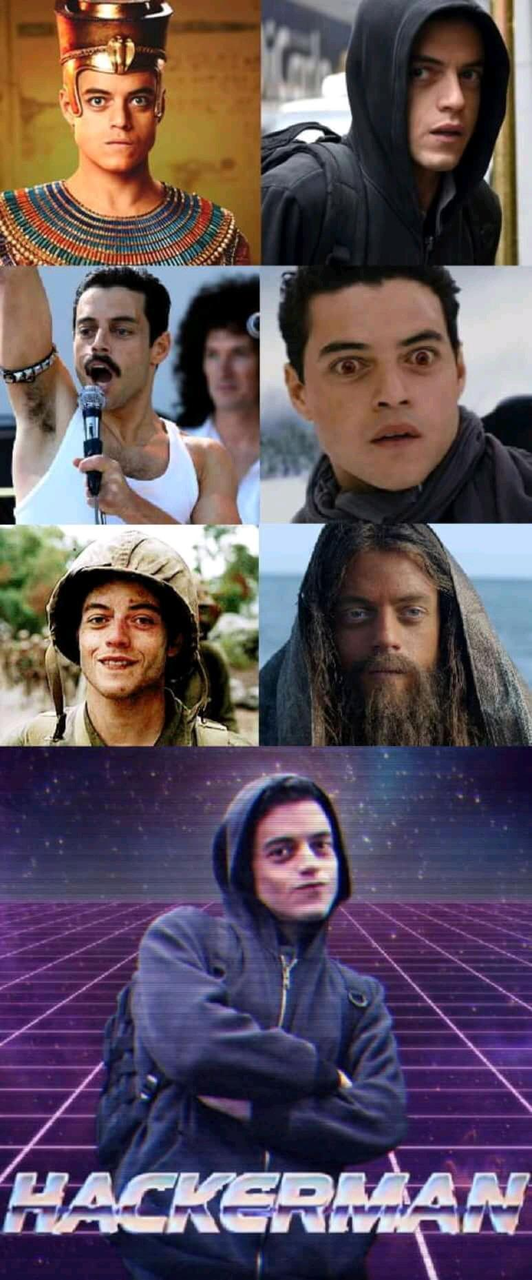 Rami Malek and all his faces - meme