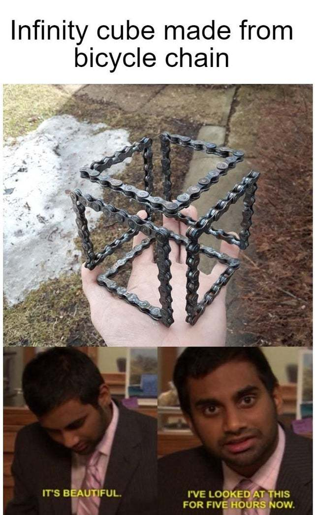 Infinity cube made from bicycle chain - meme