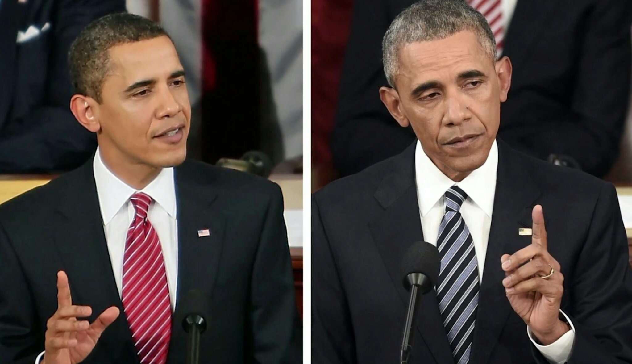 Obama first state of the union vs last - meme