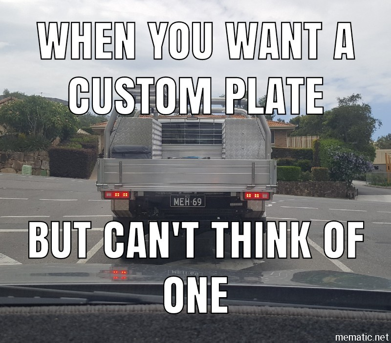 Custom plates are Gay - meme