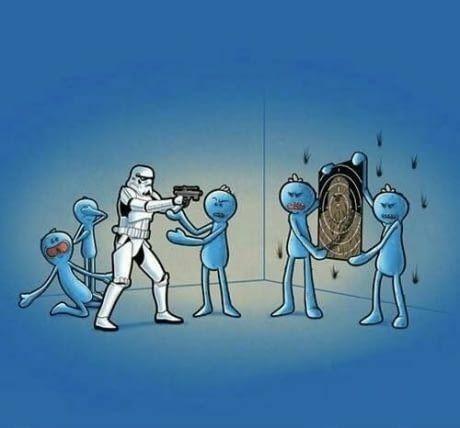Stormtrooper aprendendo a atirar kkkk - meme