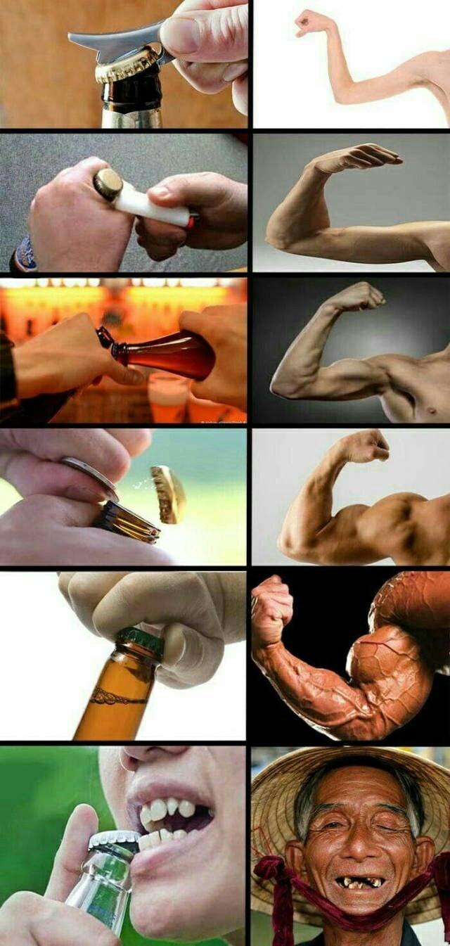 Différentes techniques pour ouvrir une bouteille - meme