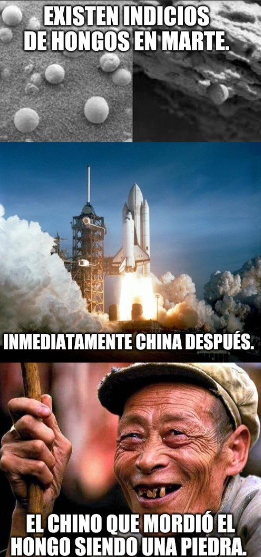 El día que se encuentre vida extraterrestre hay que esconderla de los chinos. - meme