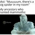 *Moi:Mamaaaaan, il y a une grosse araignée dans ma chambre*. *Mes ancêtres qui ont chassé le mammouth*