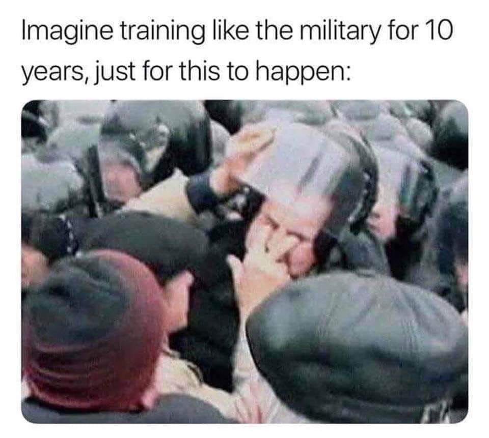 """""""Imagina treinar como militar por 10 anos pra isso acontecer"""" - meme"""