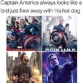 Captain America always looks like a bird just flew away with his hot dog