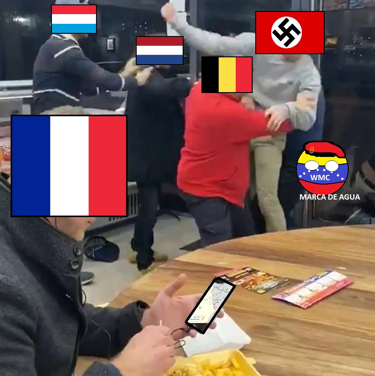 Primer meme en paint desde hace mucho tiempo, Explicacion: Momentos antes de la ocupacion nazi en Francia