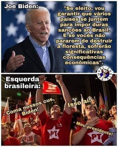 Biden vai roubar a Amazônia - meme