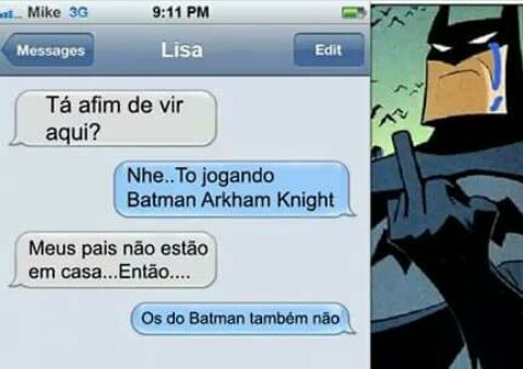 O título foi consolar o Batman - meme