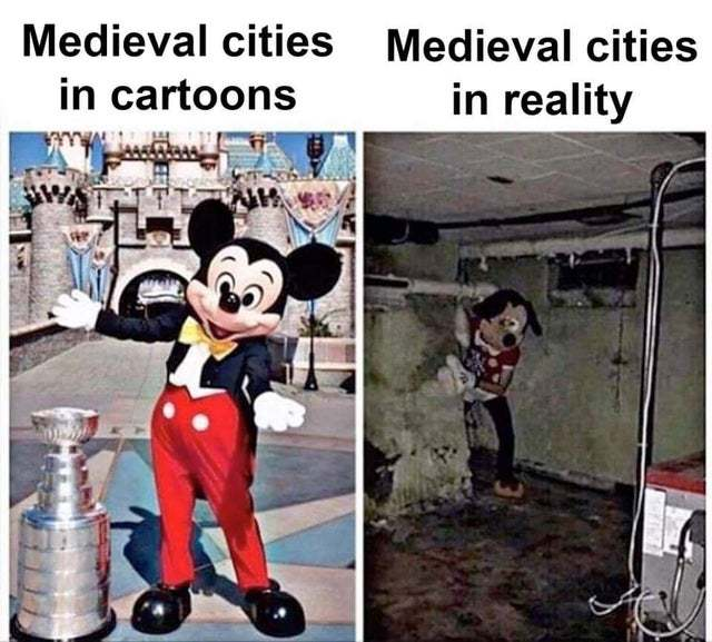 Medieval cities in cartoons vs in reality - meme