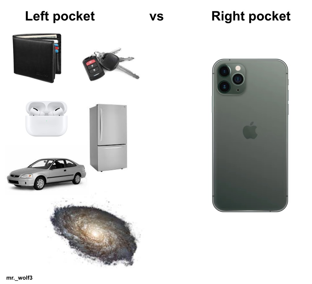the left pocket is a black hole in and of itself - meme