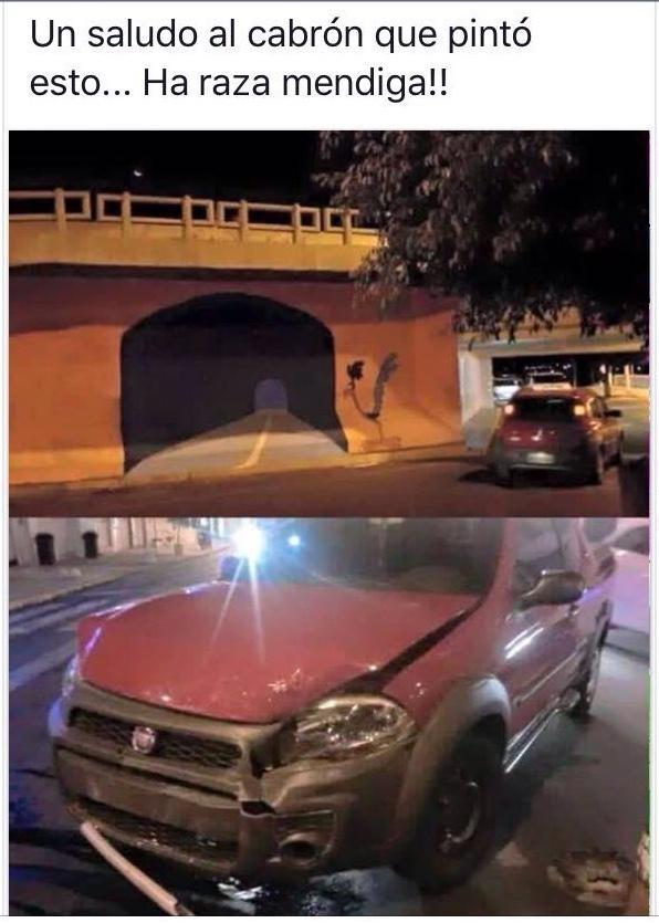 el tipo choco creyendo que era un tunel :v - meme