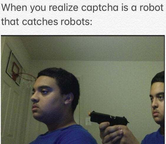When you realize captcha is a robot that catches robots - meme