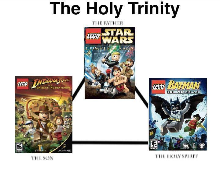 La santa trinidad de los juegos de LEGO - meme