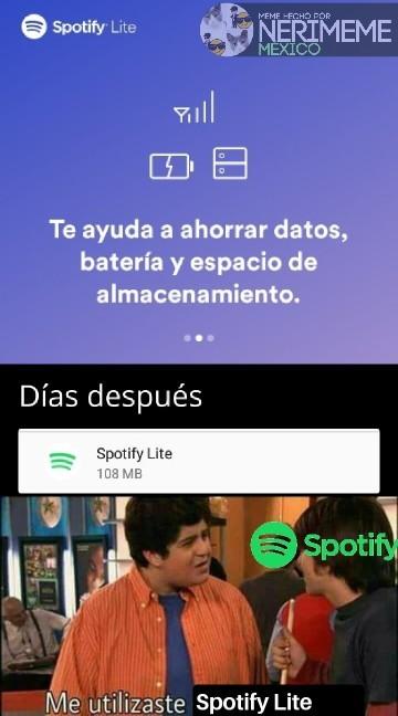 Meme: Spotify Lite 108MB