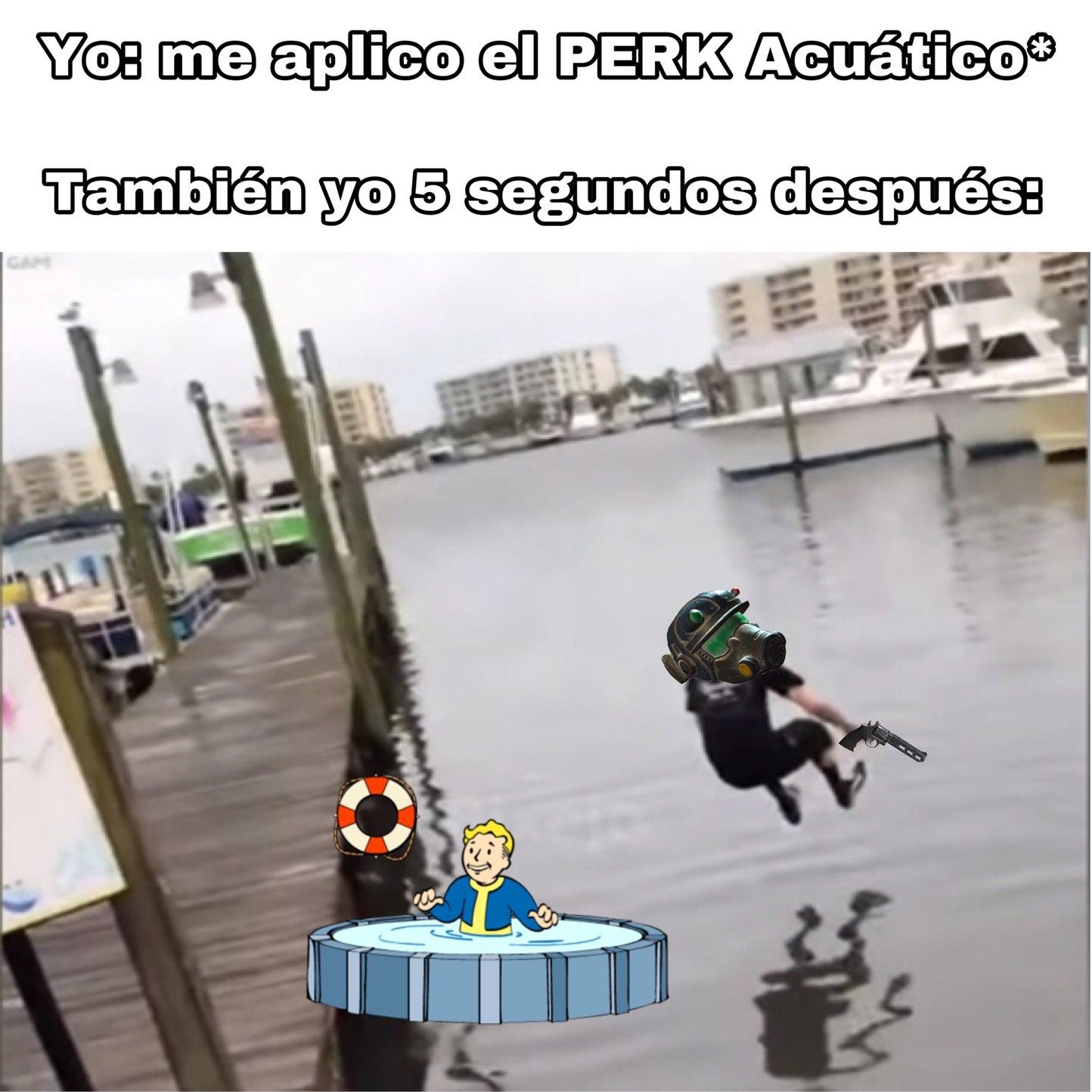 aunque muchos digan lo contrario, el perk acuático lo encuentro muy útil sobre todo para explorar y hacer ataques sigilosos, además de escapar si la pelea se vuelve imposible para mi - meme