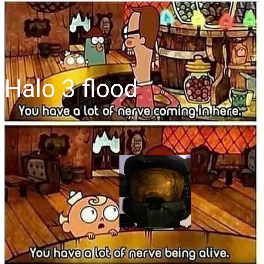Halo 3 flood was easy, but halo 2 flood was hard - meme